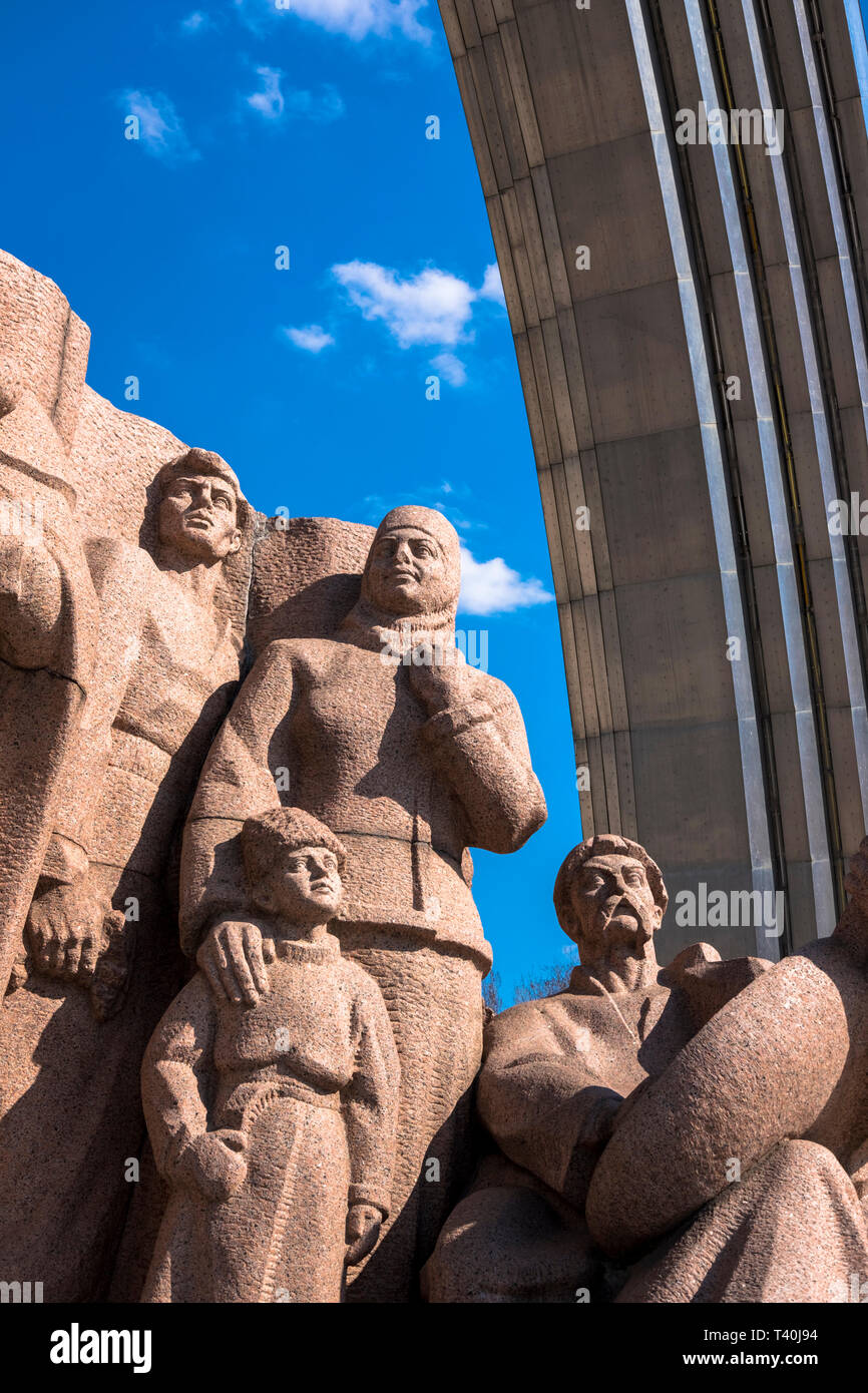 Monument depicting the participants of the Pereyaslav Council at the People's Friendship Arch in Kiev/Ukraine - Stock Image