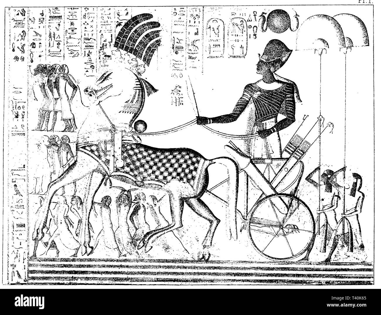 Return of Ramses III with prisoners (Medinet-Habu). After Wilkinson, 'Manners & Customs of the ancient Egyptians', - Stock Image