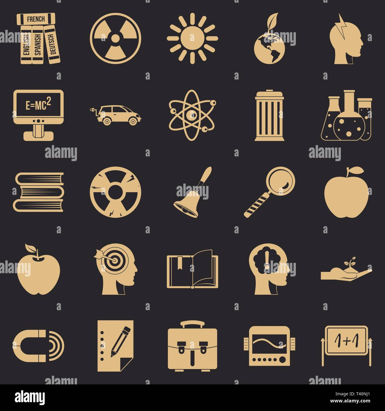 Discoveries icons set, simple style - Stock Vector
