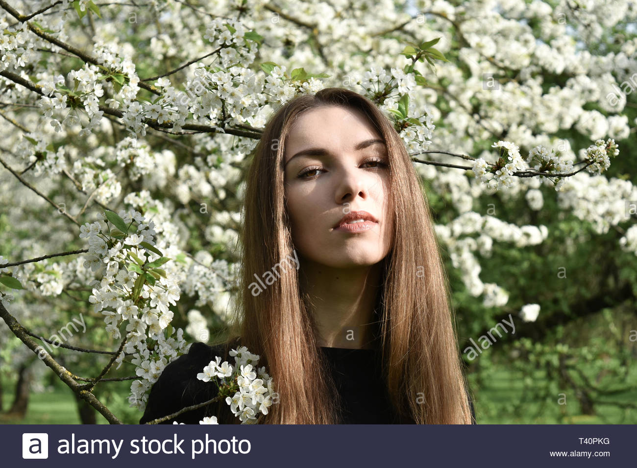 woman seriously posing for photo Stock Photo