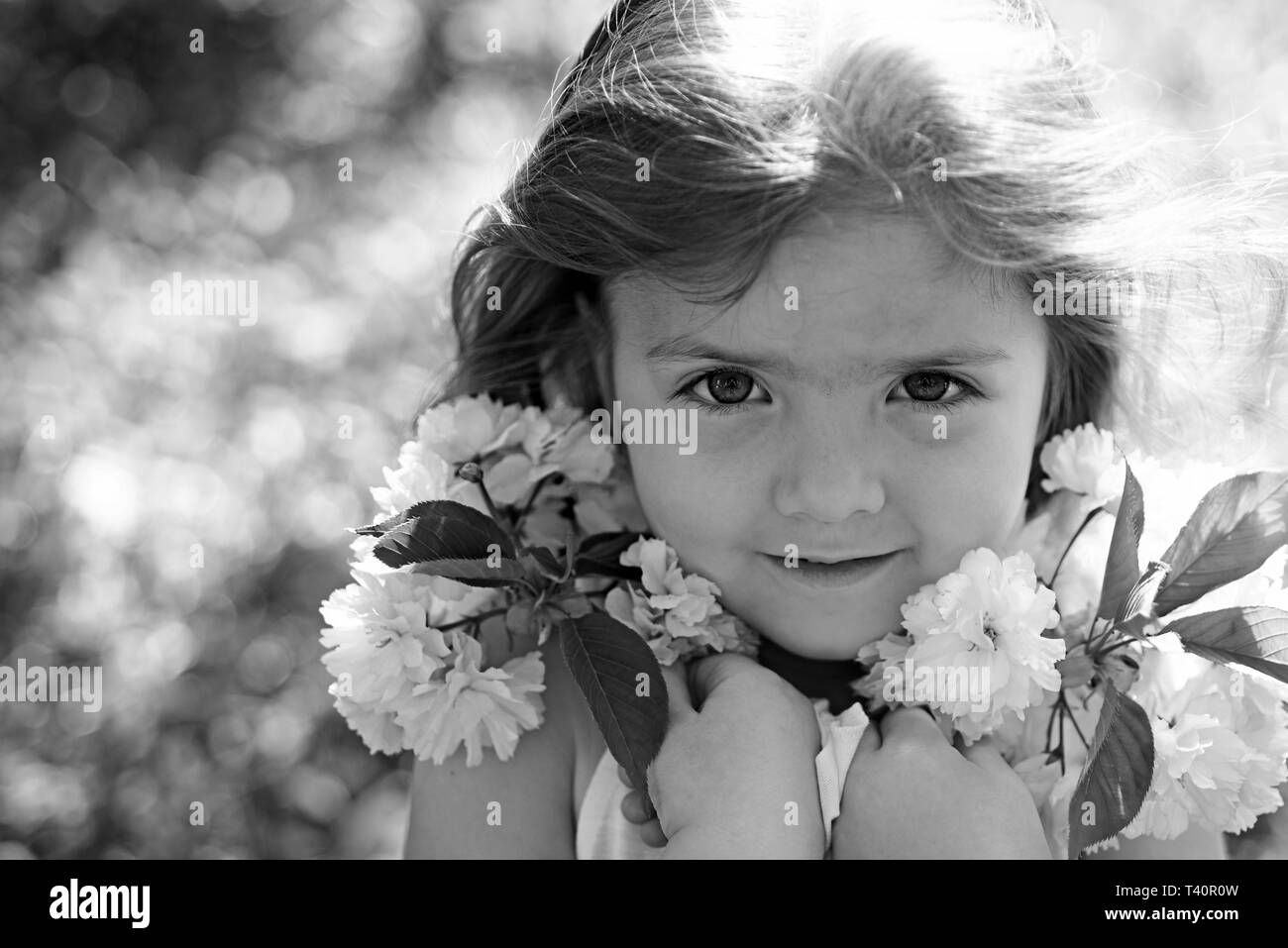 Spring style. Small child. Natural beauty. Childrens day. Springtime. weather forecast. Little girl in sunny spring. Summer girl fashion. Happy - Stock Image