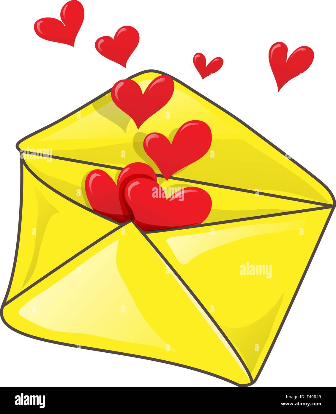 Romantic envelope with many heart. clip-art Vector illustration - Stock Vector