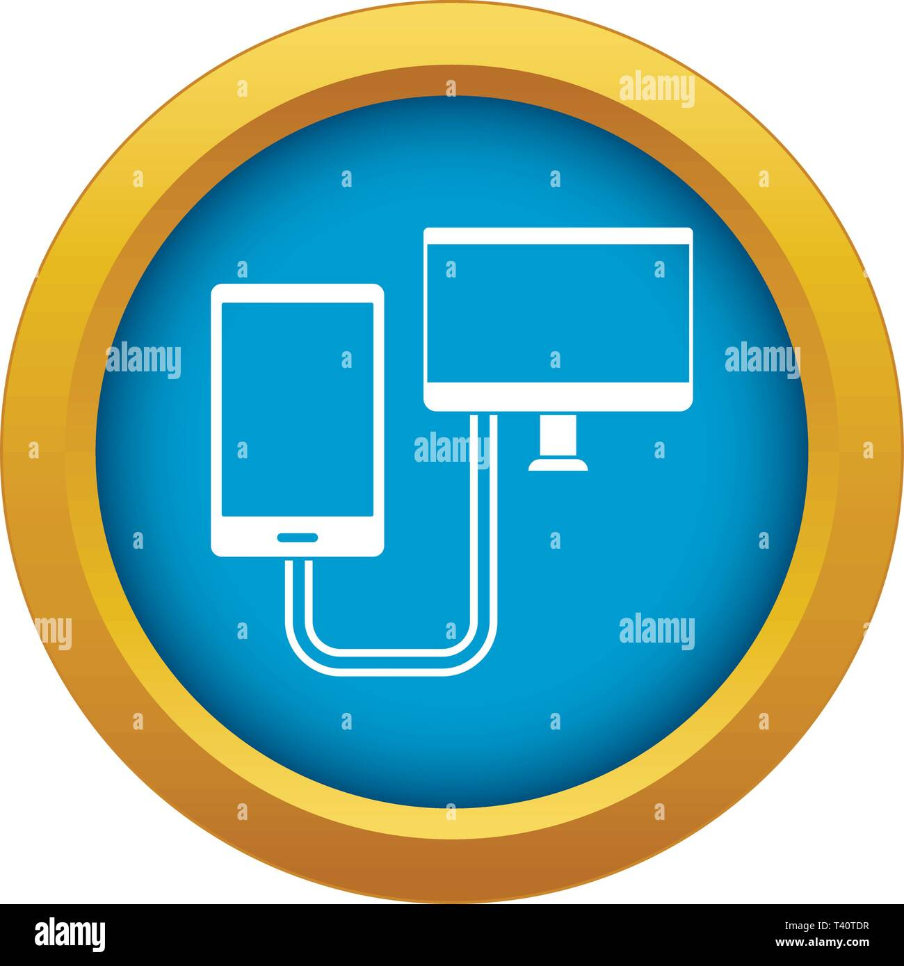 Connection phone icon blue vector isolated Stock Vector Art
