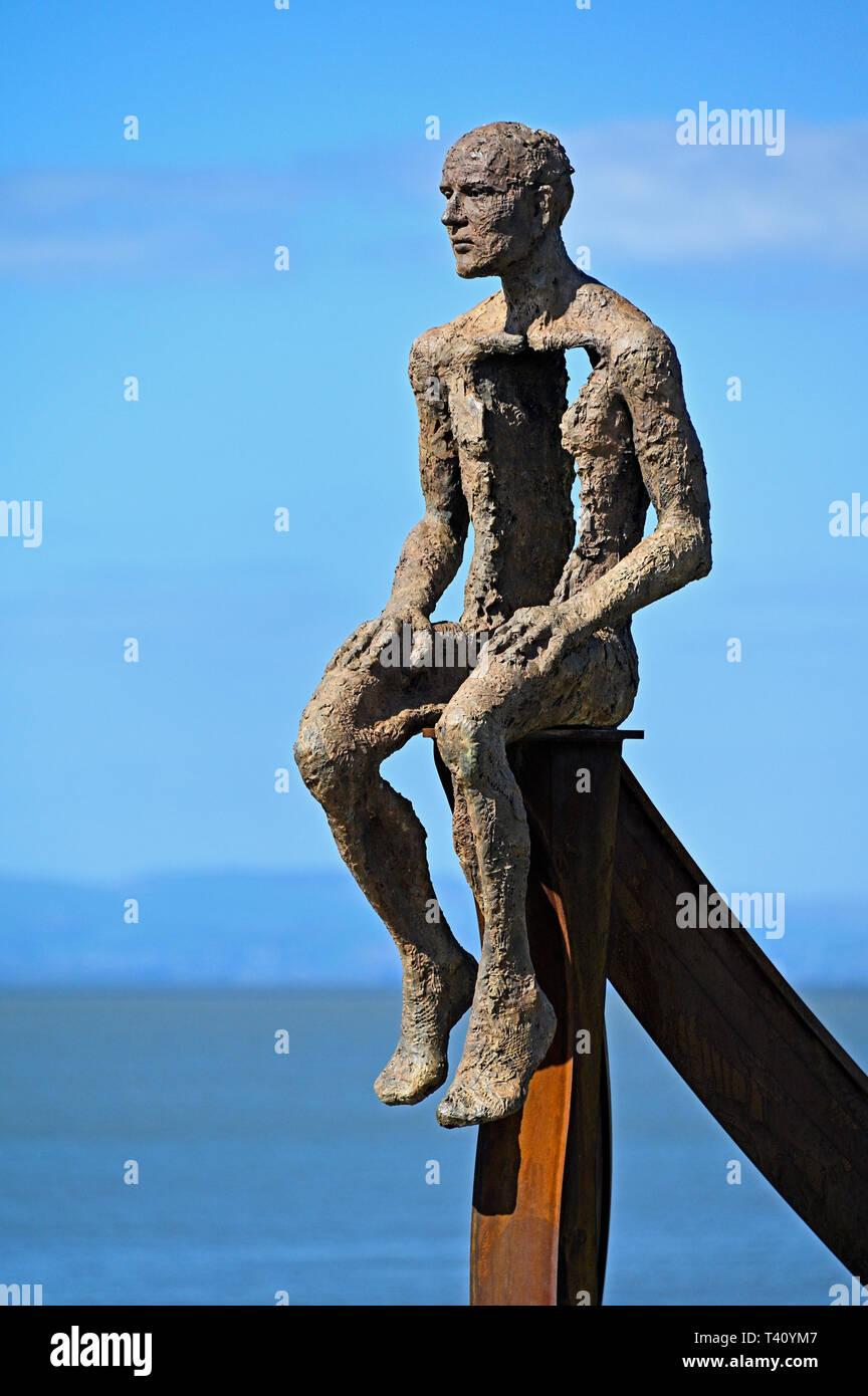 """Ship"" (detail), metal sculpture by Anna Gillespie, 2019. Half Moon Bay, Heysham, Lancashire, England, United Kingdom, Europe. Stock Photo"