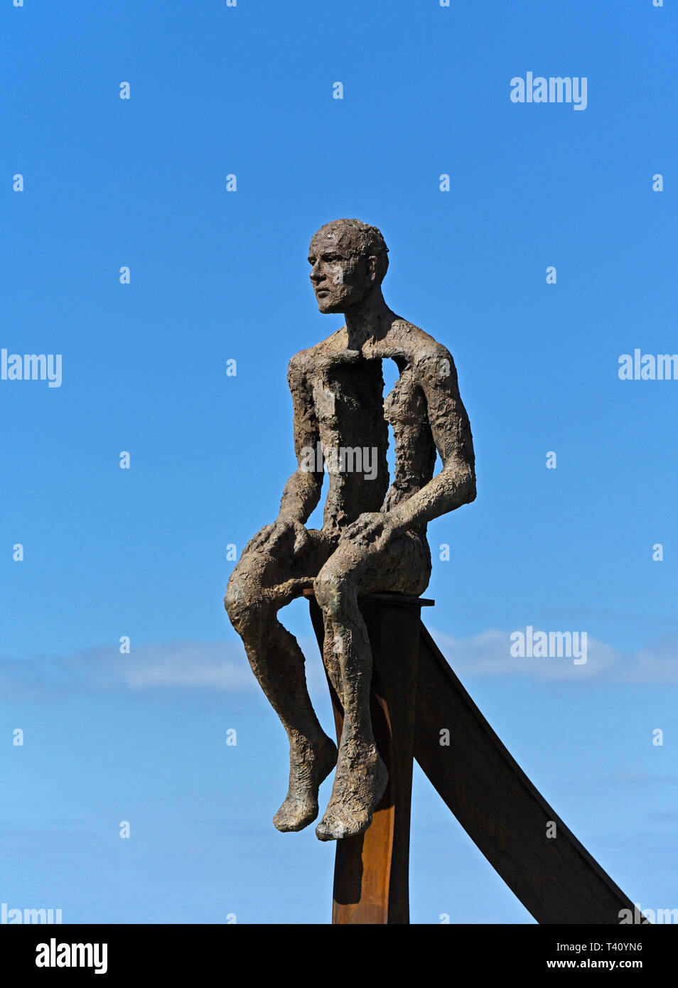 'Ship' (detail), metal sculpture by Anna Gillespie, 2019. Half Moon Bay, Heysham, Lancashire, England, United Kingdom, Europe. - Stock Image