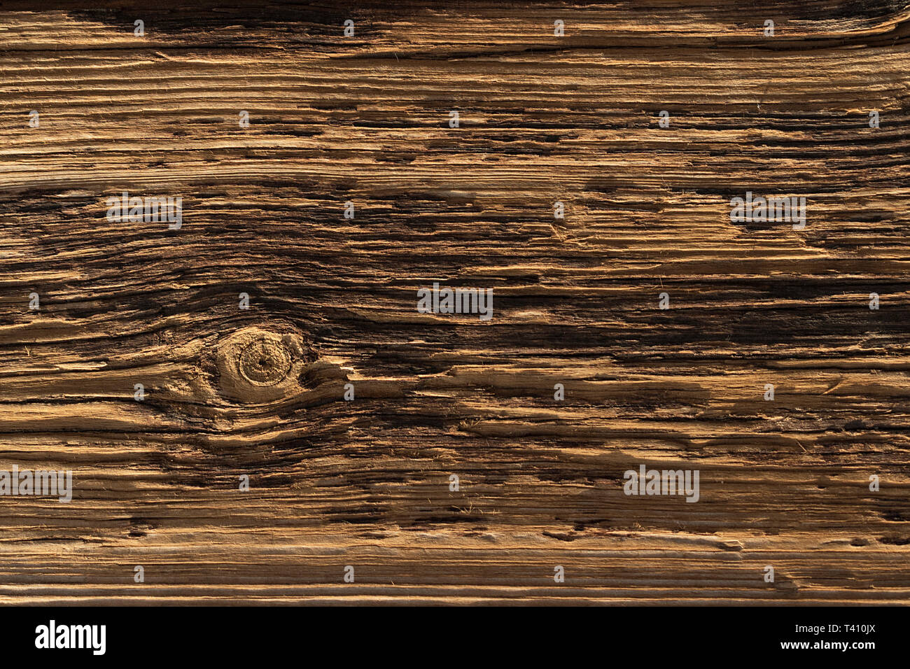 a deeply textured weathered old wooden board with with a single knot breaking the pattern - Stock Image