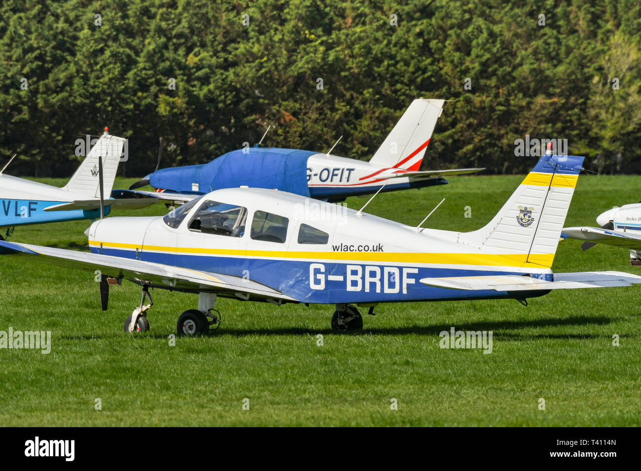 WHITE WALTHAM, ENGLAND - MARCH 2019: Piper PA28 Cherokee Warrier of the West London Aero Club at White Waltham airfield. - Stock Image
