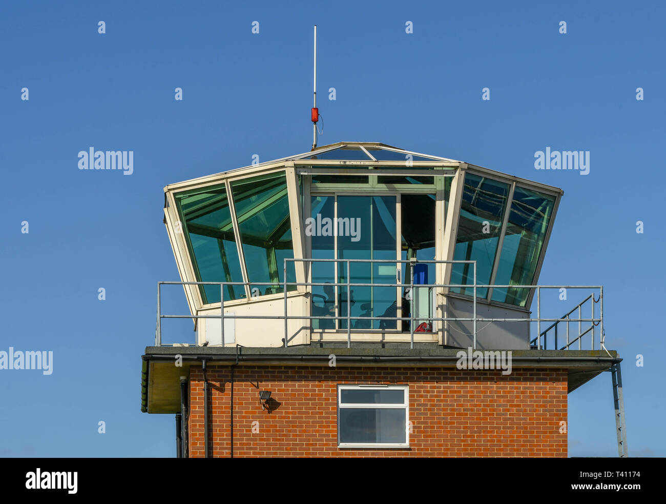 HIGH WYCOMBE, ENGLAND - MARCH 2019: Control tower at Wycombe Air Park. - Stock Image