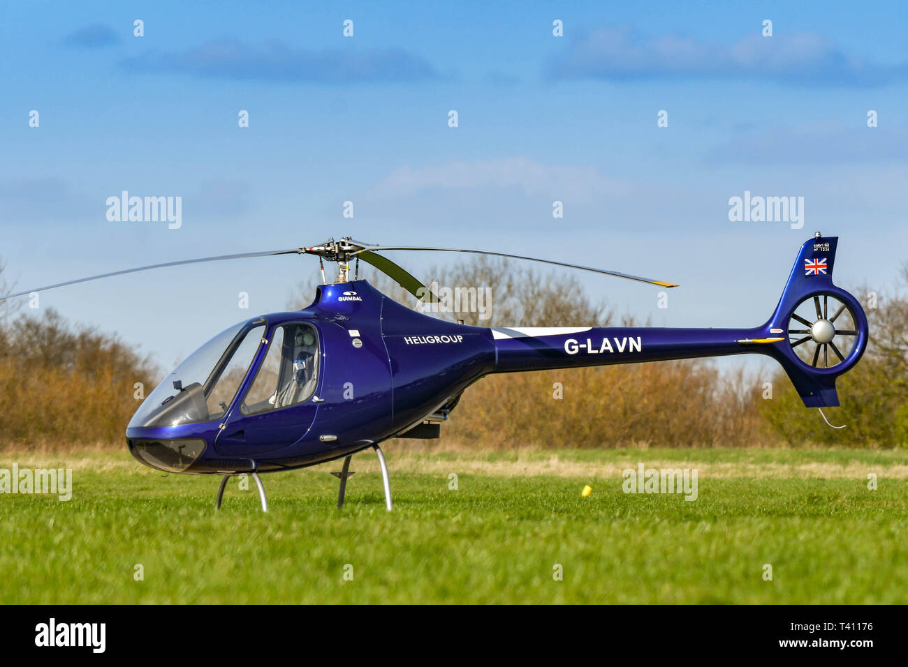 HIGH WYCOMBE, ENGLAND - MARCH 2019: Guimbal Cabri G2 helicopter on the ground at Wycombe Air Park. - Stock Image