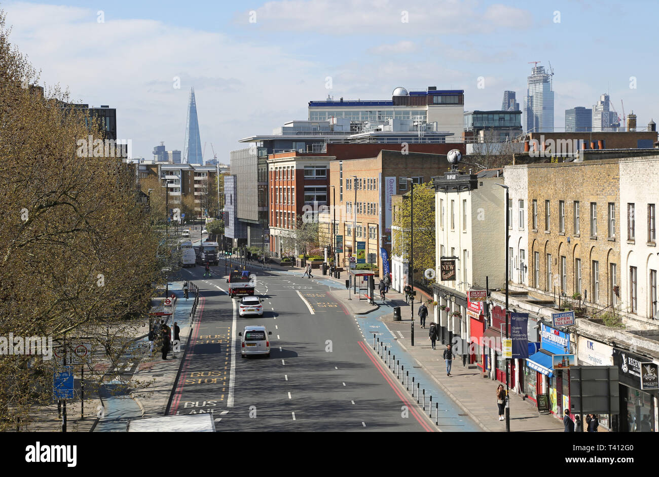High Level view of Mile End Road / Bow Road in London's East End. View west towards the City of London. Shows cycle routes. The Shard in background. - Stock Image