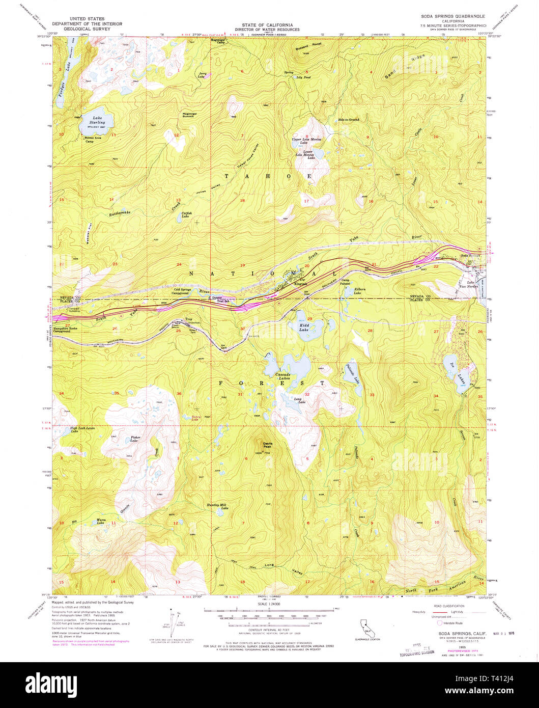 Usgs Topo Map California Ca Soda Springs 300569 1955 24000 - Soda-map-of-the-us