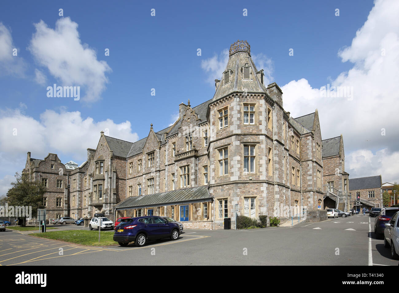 Royal Devon and Exeter Hospital. Shows Wonford House, the original Victorian hospital building now used for mental health services - Stock Image