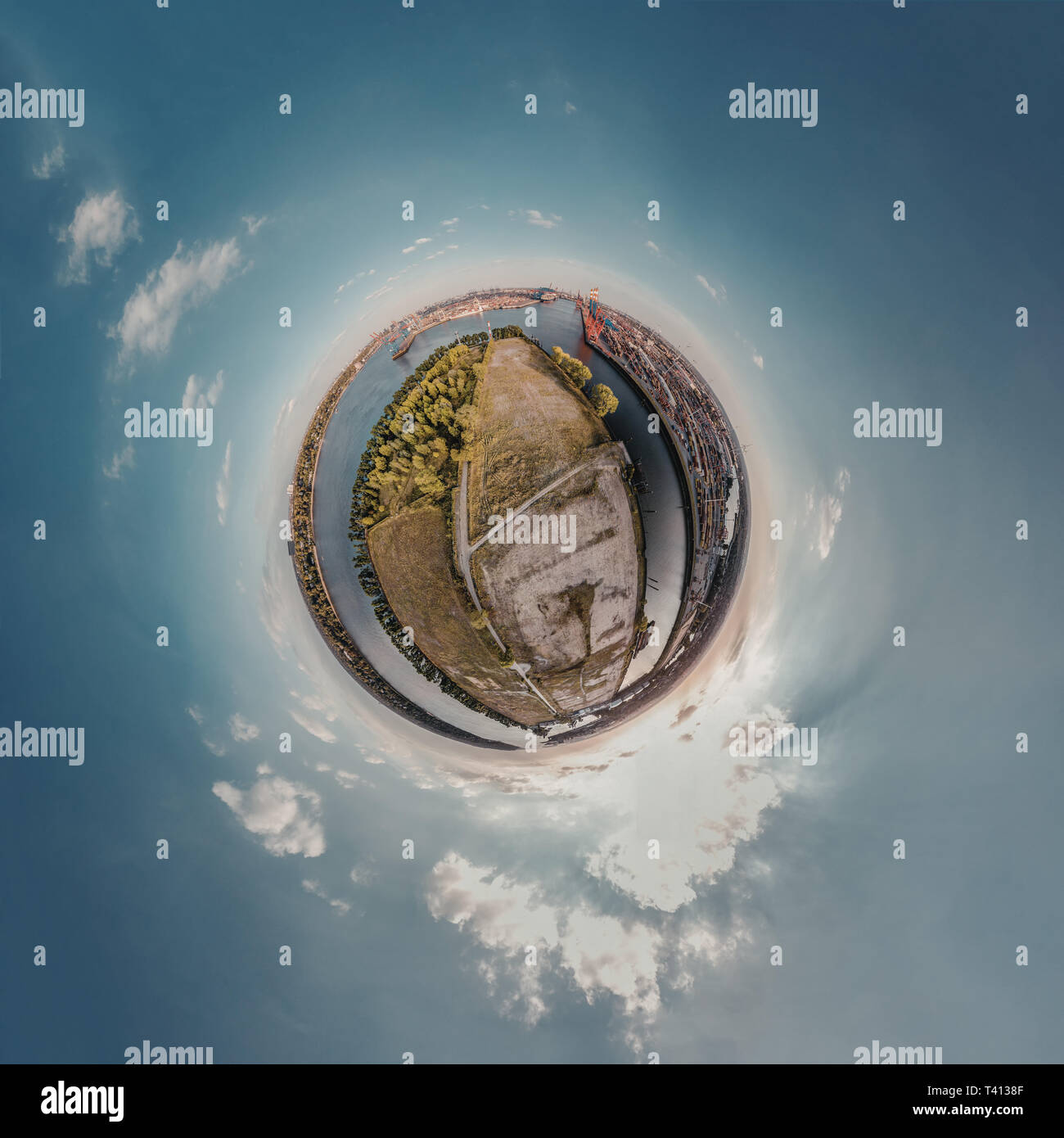 Little Planet from the Port of Hamburg - Stock Image