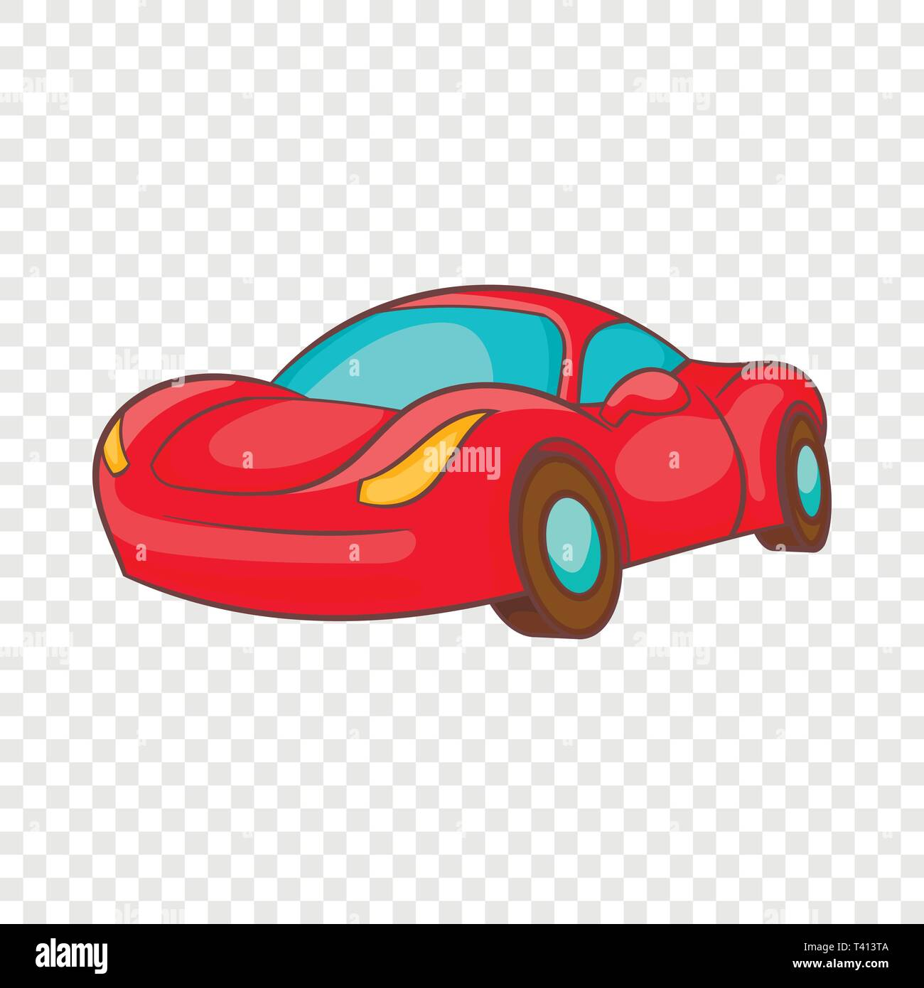 Small red italian car icon, cartoon style - Stock Image