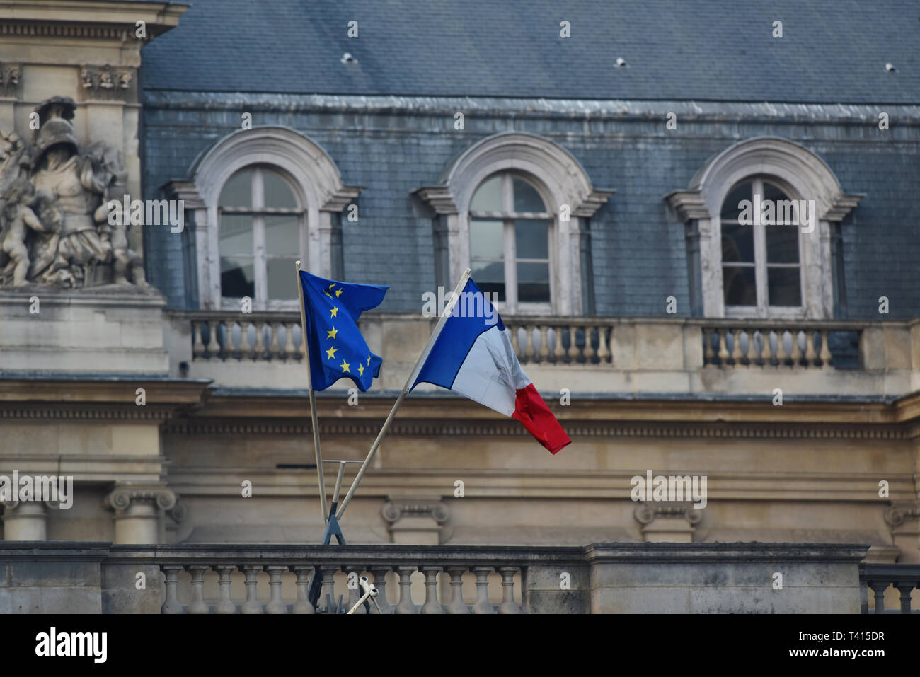The Flag of Europe and France - used by the European Union and Council of Europe - Stock Image