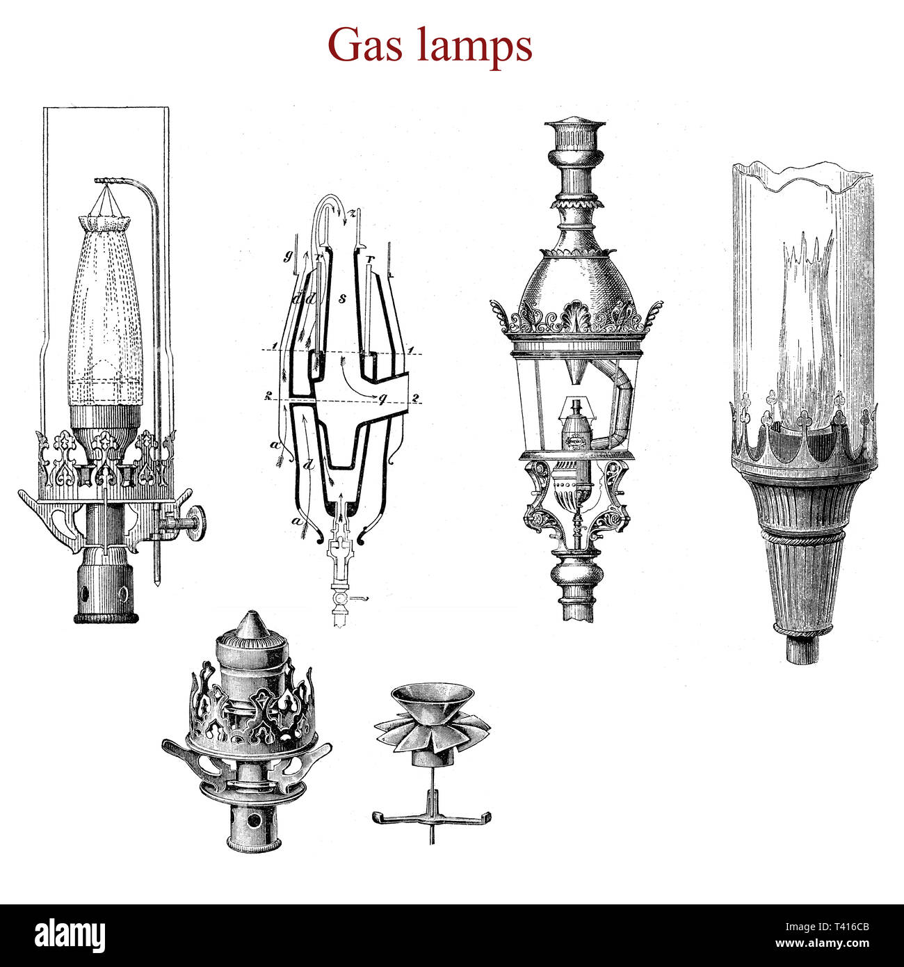 Different kind of gas lamps of the XIX century:from the left Auer, Siemens, Dumas.  Gas lighting is the production of artificial light from combustion of a gaseous fuel. - Stock Image