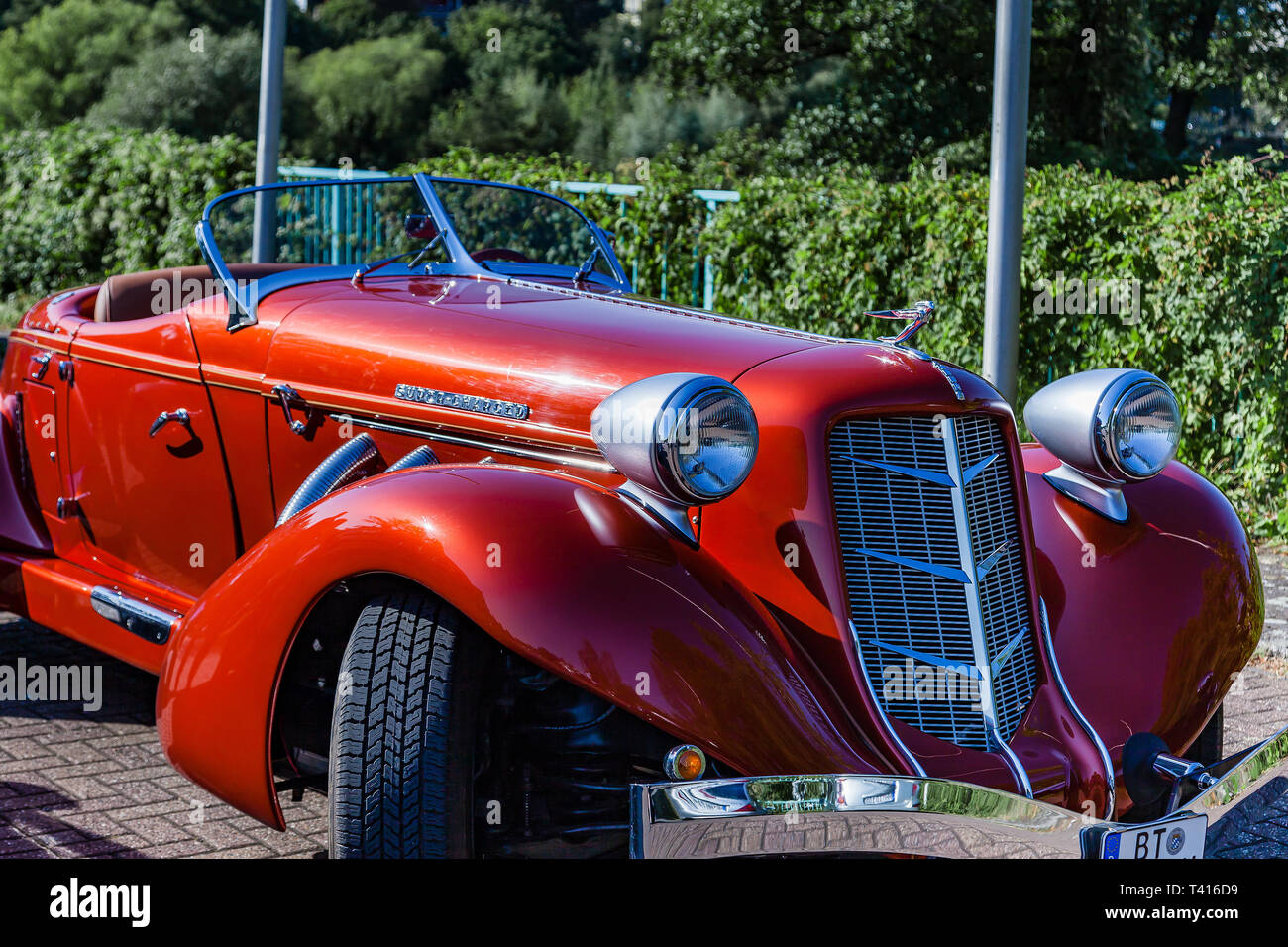 Muehlheim, Germany - September 10, 2016: Super Charged Auburn 851 Boattail Classic. Auburn was a brand name of American automobiles produced in Auburn - Stock Image