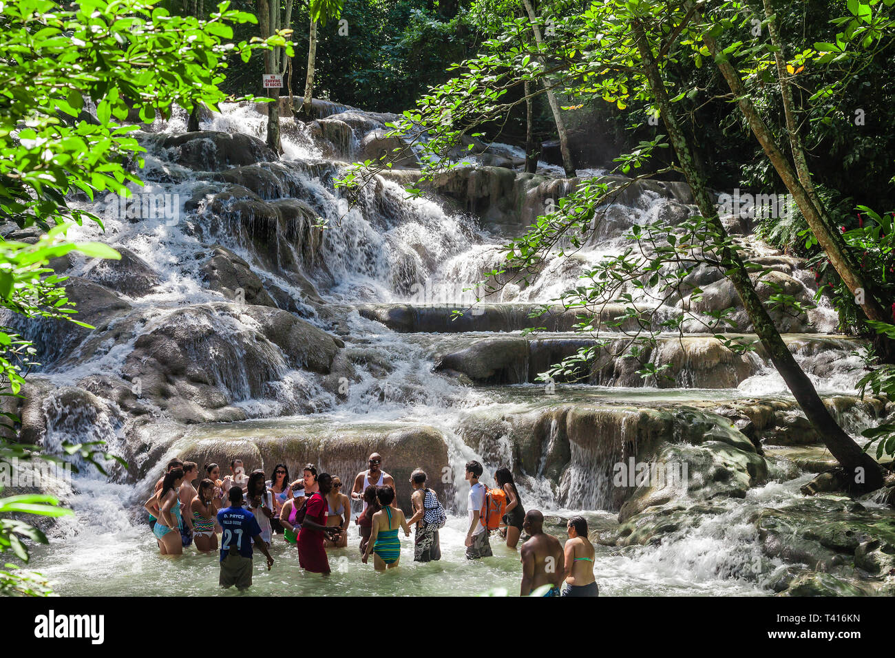Ocho Rios, Jamaica - November 15, 2016: The Dunn's River Falls are waterfalls in Ocho Rios in Jamaica, which can be climbed by tourists. - Stock Image