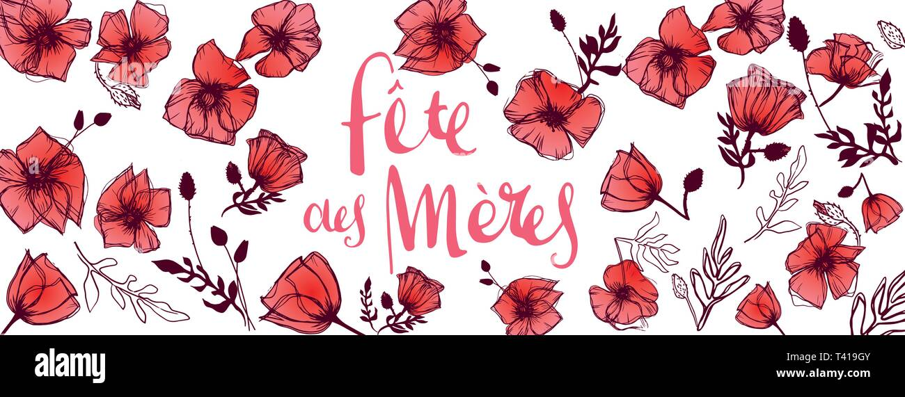 French Mother's Day full vector large banner - Stock Vector