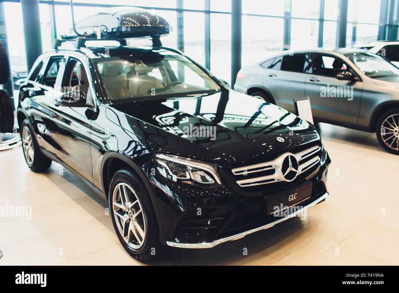 Ufa, Russia - December 23, 2018: Metallic black Mercedes Benz GLC 250d 4Matic. - Stock Image