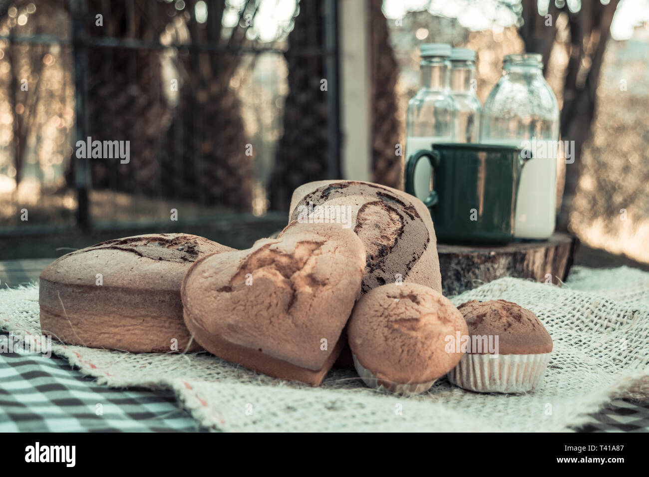 Photograph of breads made at home. the photo was made in an outdoor environment so that the feeling of freshness and yesteryear - Stock Image