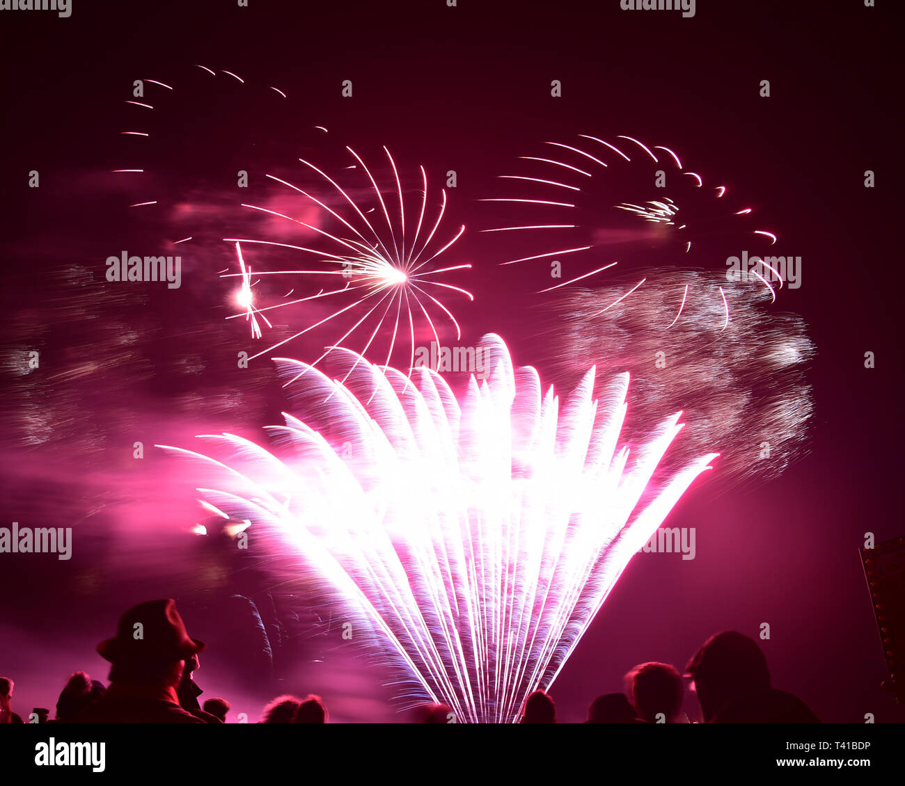 Firework display, 77th Members Meeting, Goodwood, West Sussex, England, April 2019, Autosport, cars, circuit racing, classic cars, competition, Englan - Stock Image
