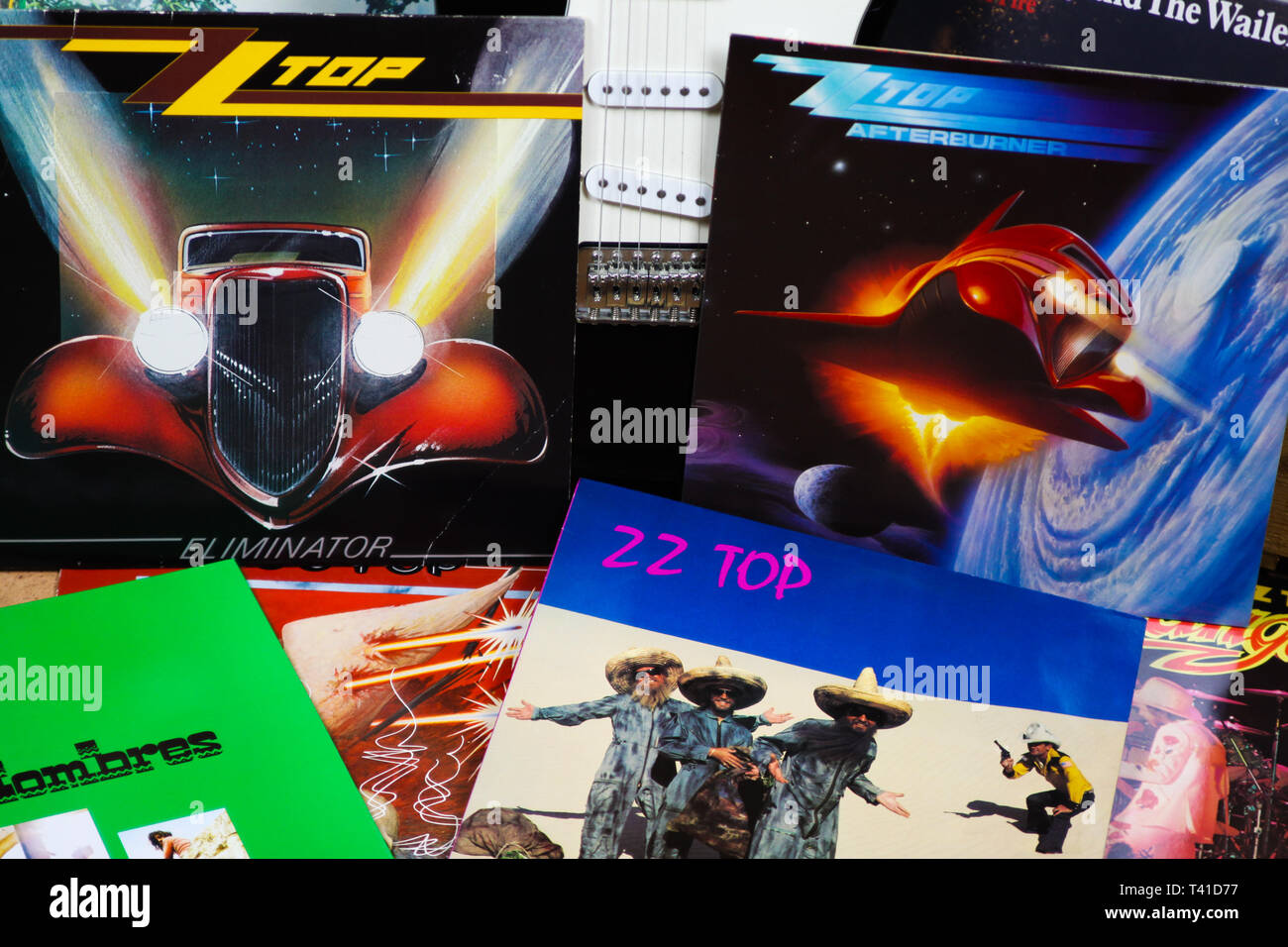 VIERSEN, GERMANY - MARCH 10. 2019: View on collection of ZZ Top vinyl records - Stock Image