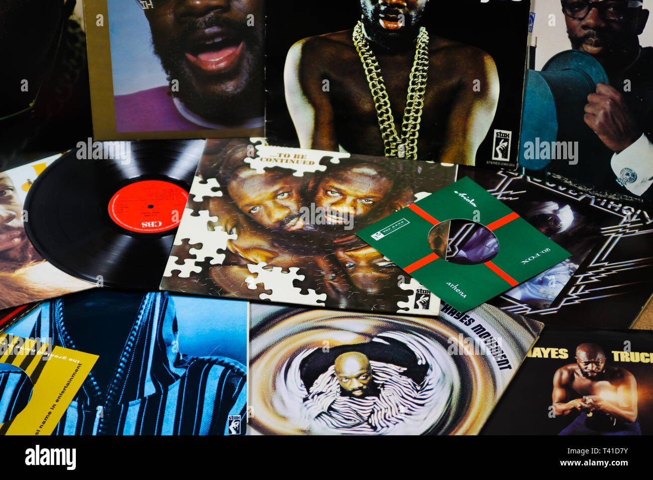 VIERSEN, GERMANY - MARCH 10. 2019: View on collection of Isaac Hayes vinyl records - Stock Image