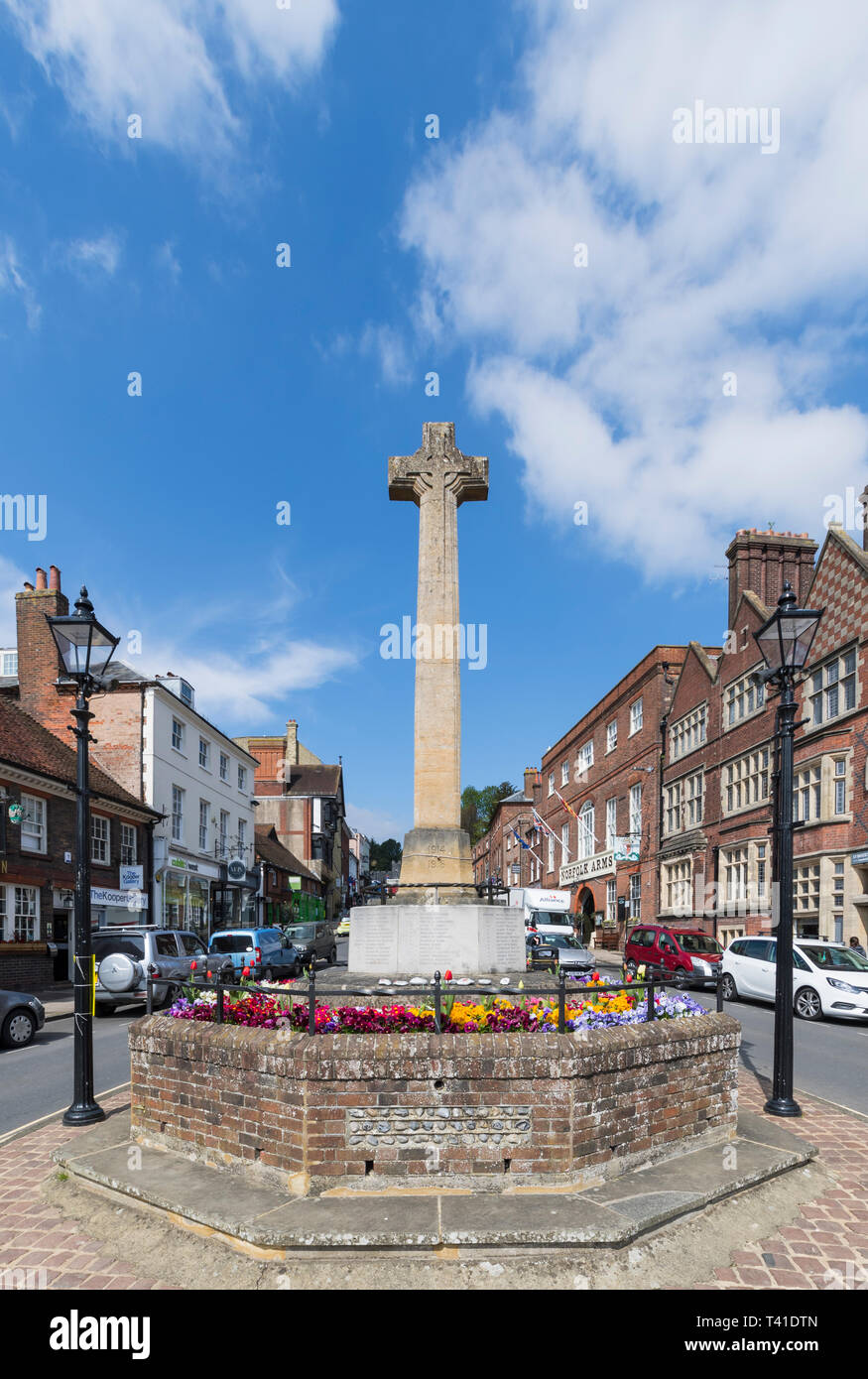 WWI and WWII war memorial in the High Street in Spring in Arundel, West Sussex, England, UK. Portrait. - Stock Image