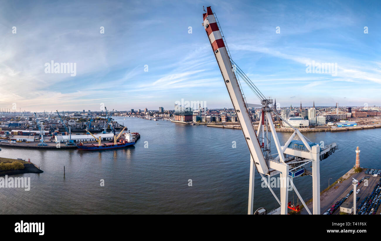 Aerial view from the Harbor of hamburg with Elbphilharmony und industrial areas - Stock Image