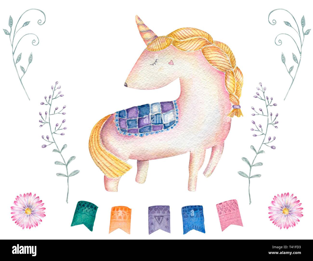 Unicorn Watercolor And Flower Pink Unicorn Beautiful Animal Cute Pony Little Horse Clip Art Drawing Magic Illustration Fantasy Birthday Greeting Card Stock Photo Alamy