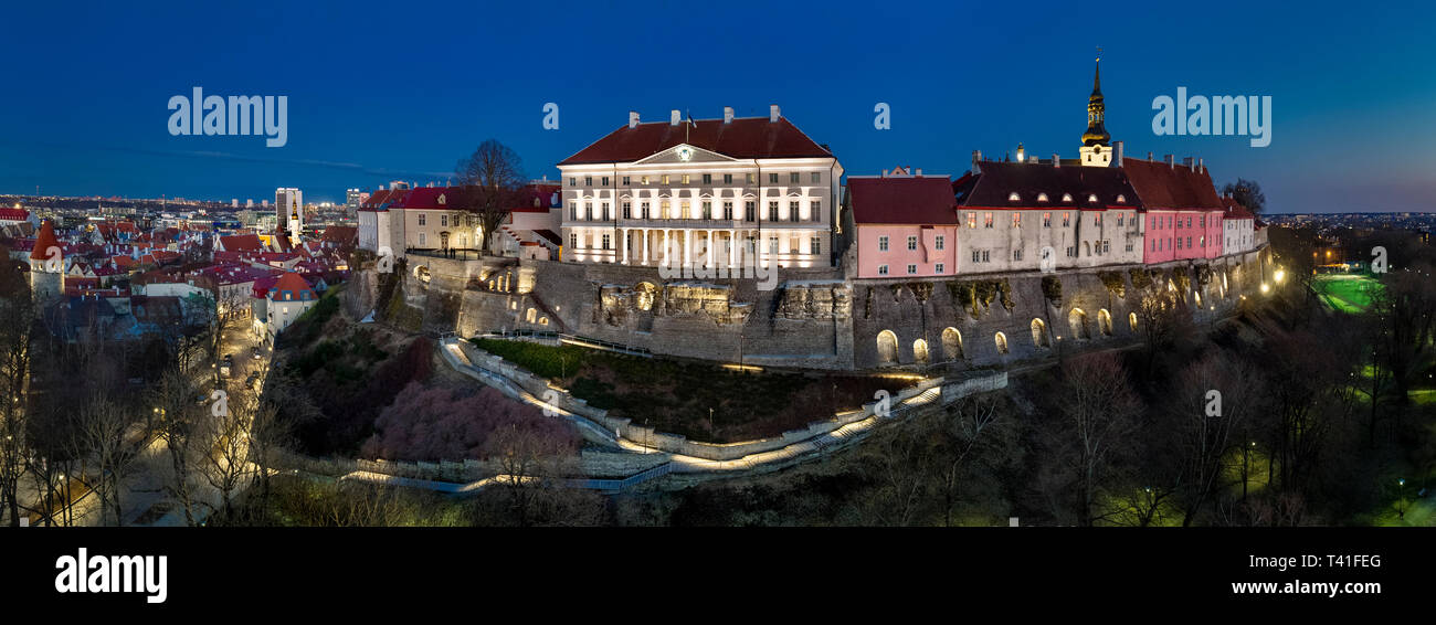 Toompea Hill in Tallinn, Estonia. aerial drone panorama view. Estonian government building facade. - Stock Image