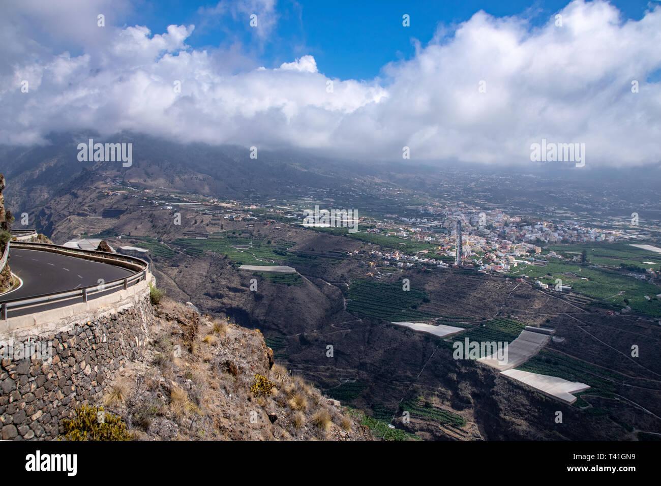 Panaromic view of Los Llanos and Tazacorte from Mirador El Time, La Palma, Canary Islands, Spain Stock Photo
