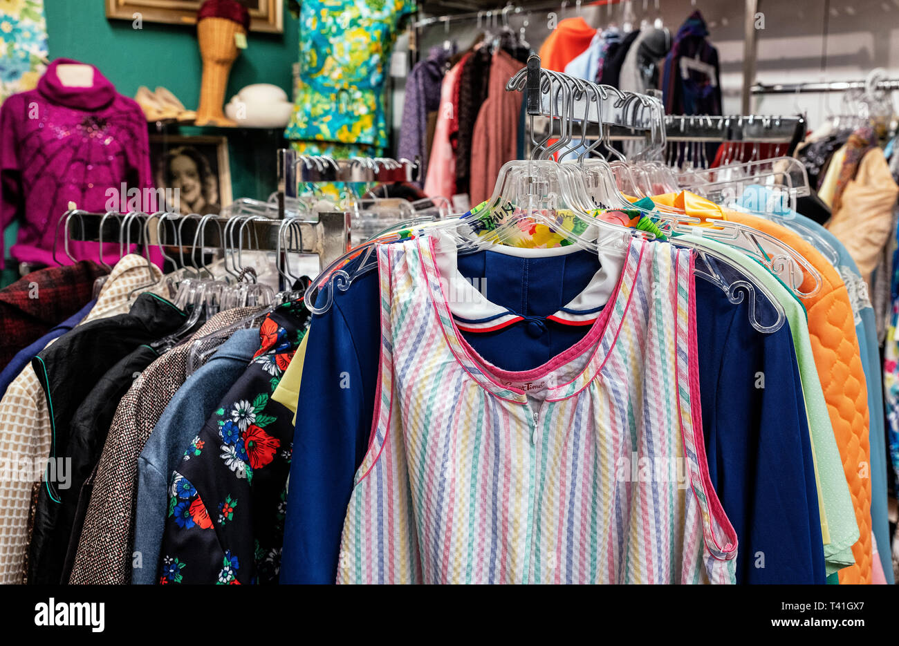Second hand clothing store. - Stock Image