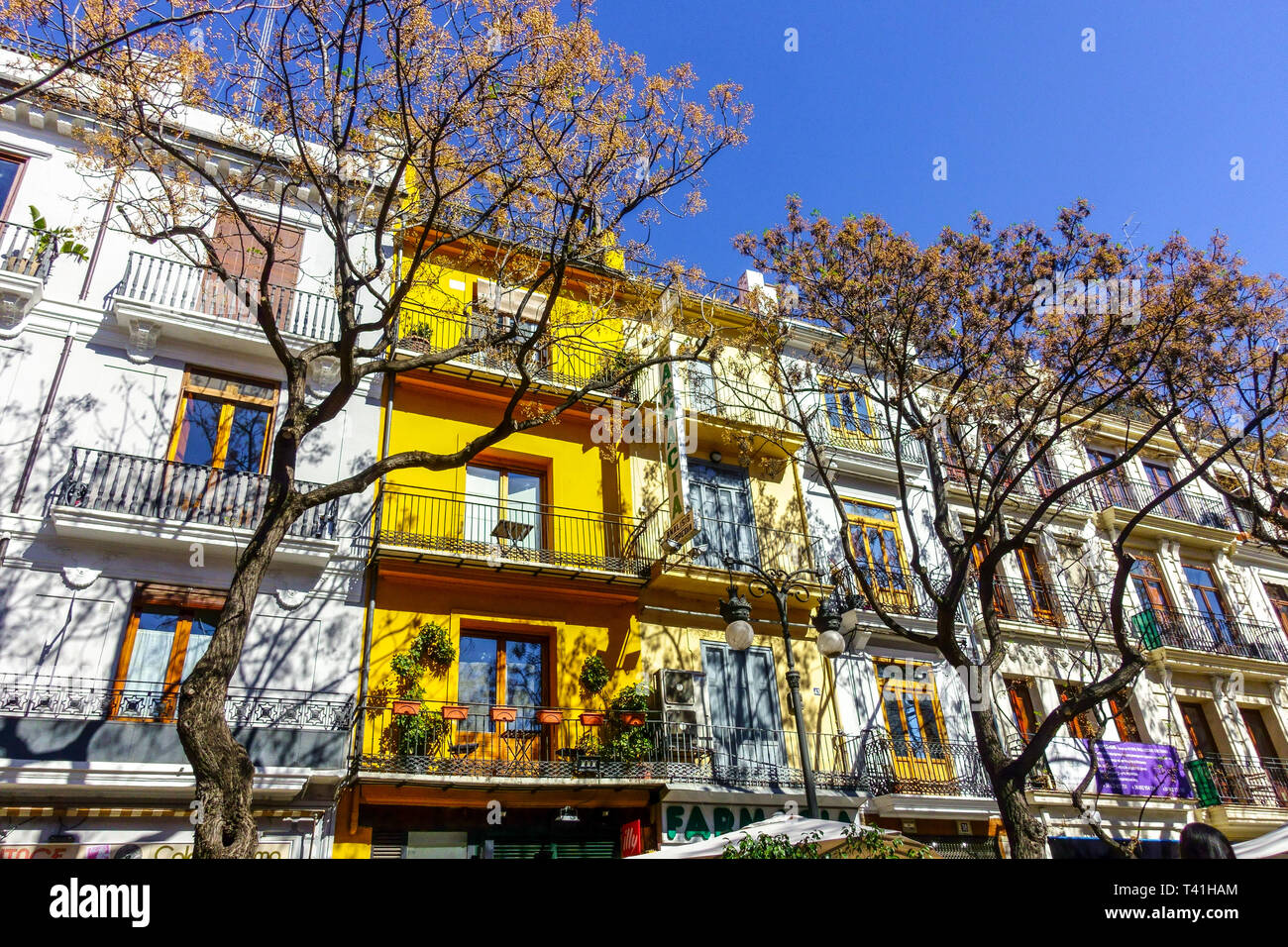 Colorful houses on Plaza de Mercat, Ciutat Vella Valencia apartment Spain Stock Photo