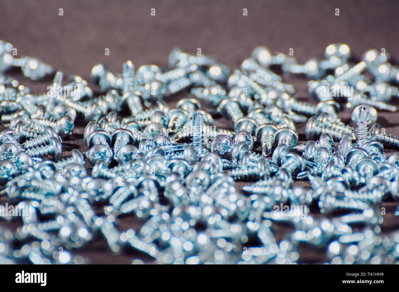 self-tapping screws on black background close up - Stock Image
