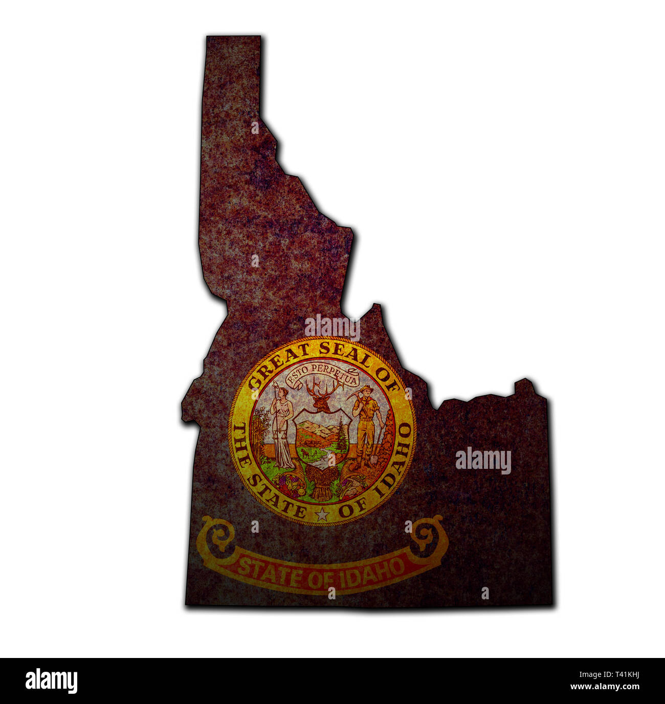 territory of Idaho state isolated from other states of USA - Stock Image