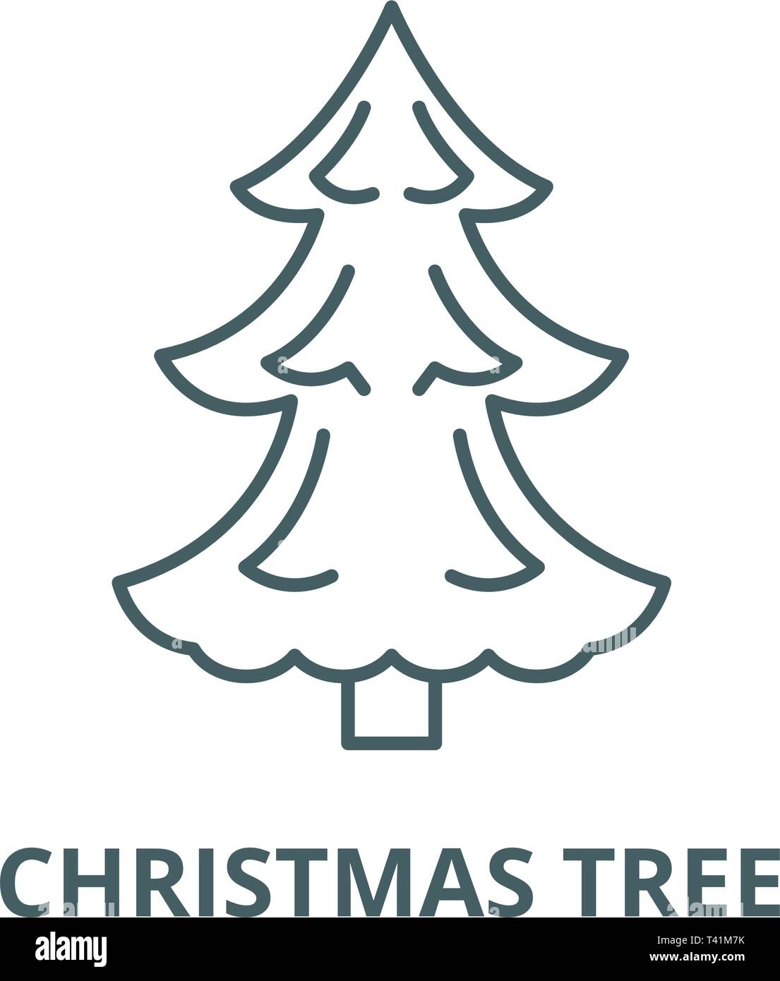 Christmas Tree Outline.Christmas Tree Line Icon Vector Christmas Tree Outline