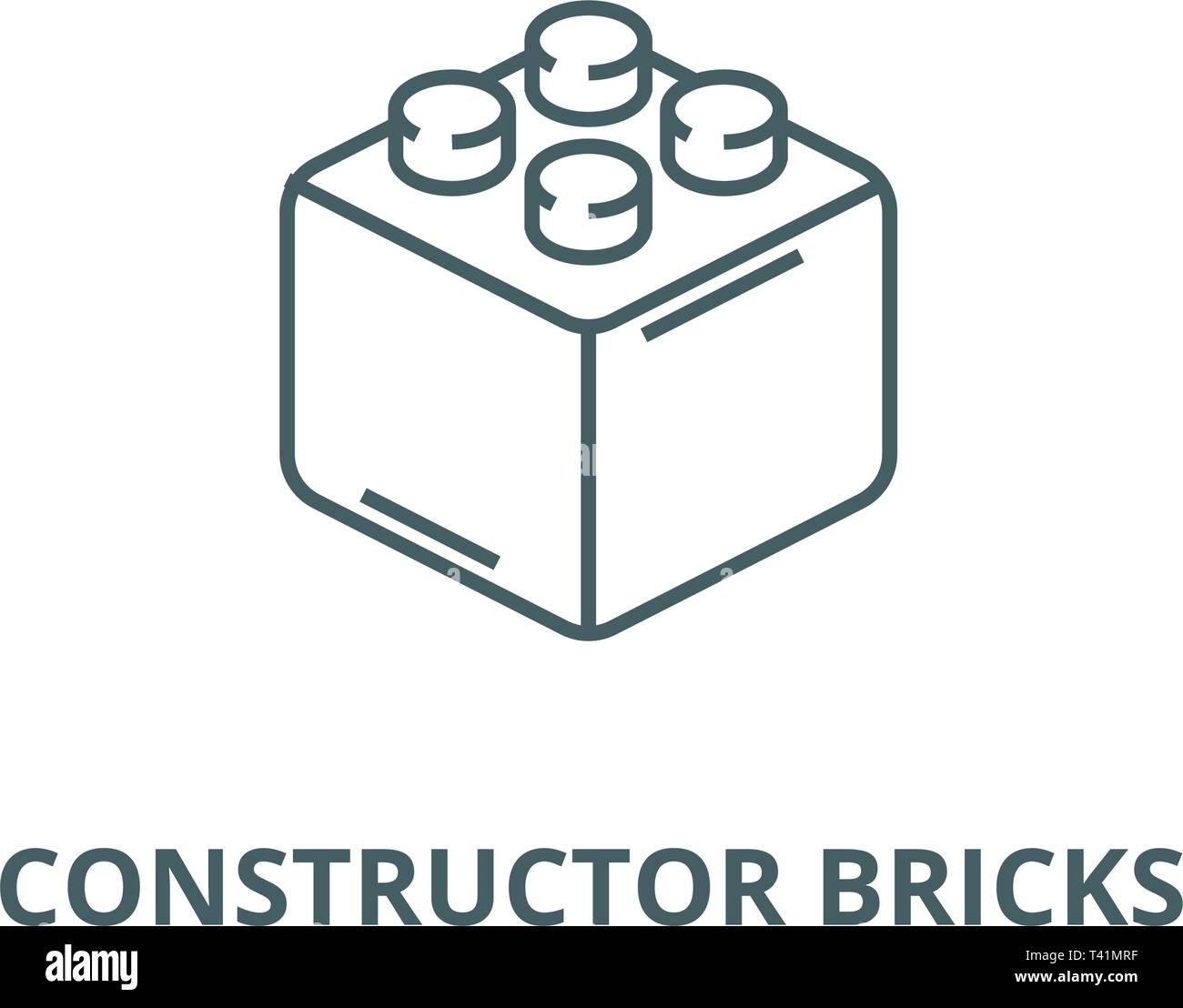 Constructor bricks line icon, vector. Constructor bricks outline sign, concept symbol, flat illustration Stock Vector