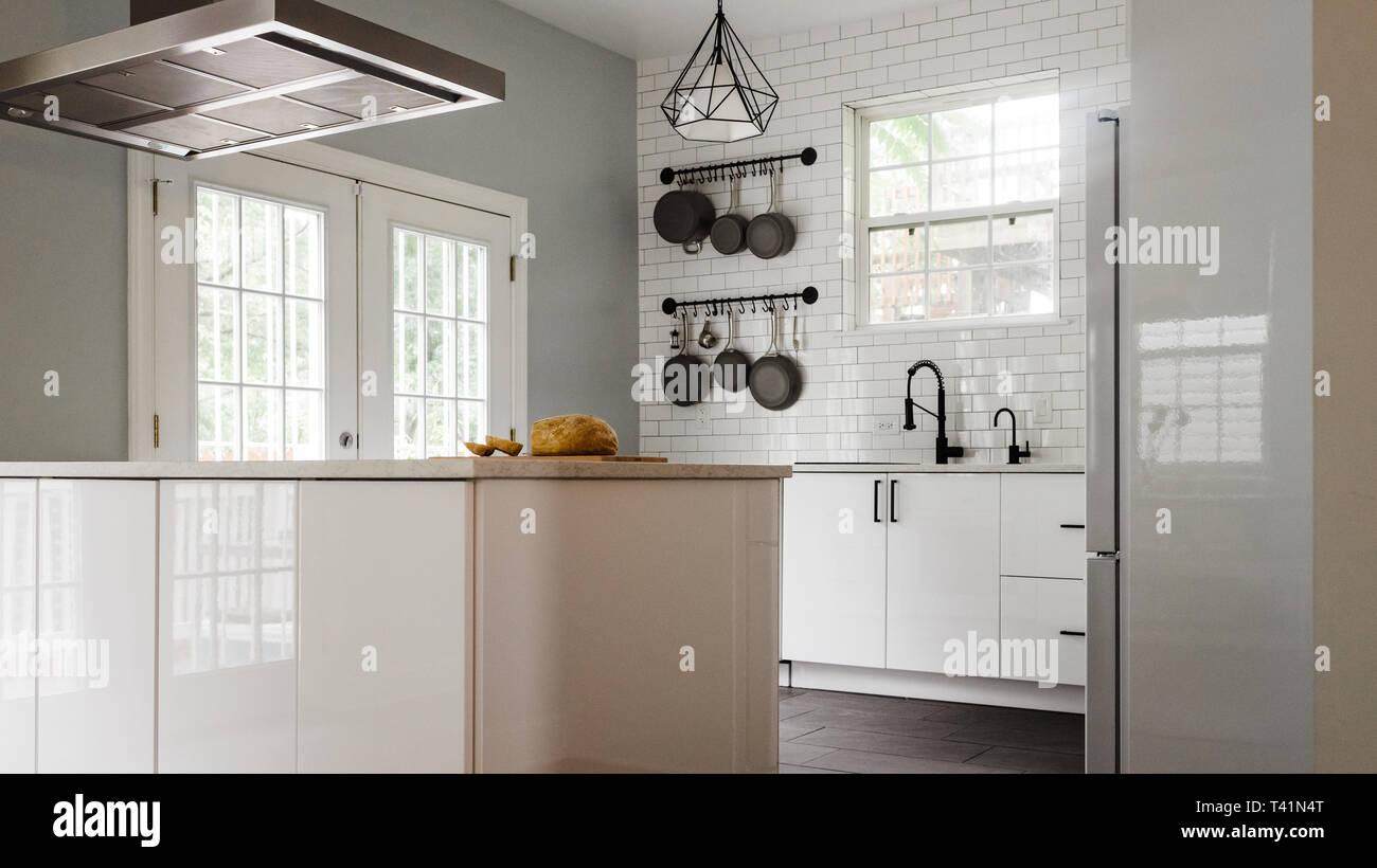 Modern white and black kitchen Stock Photo