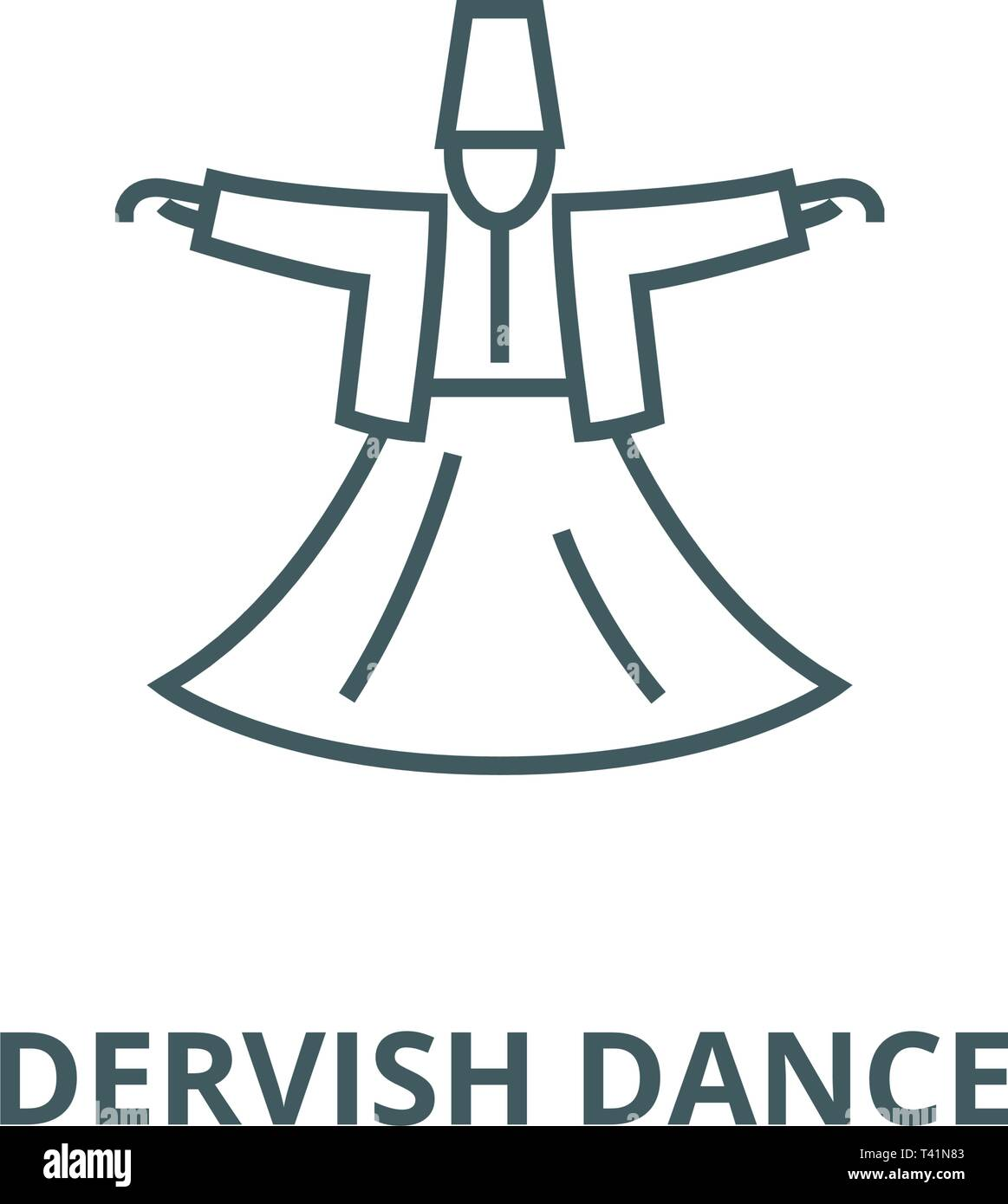 Dervish dance,islam line icon, vector. Dervish dance,islam outline sign, concept symbol, flat illustration - Stock Image