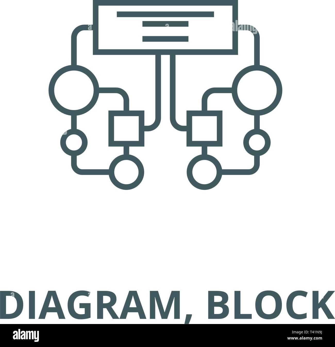 Diagram, block line icon, vector  Diagram, block outline