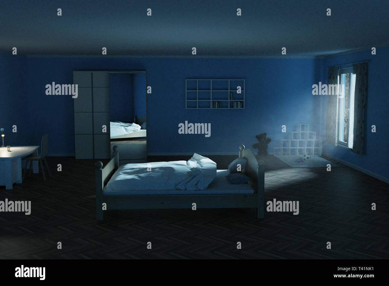 3d rendering of children's room at night with shining bright light ray of moon Stock Photo