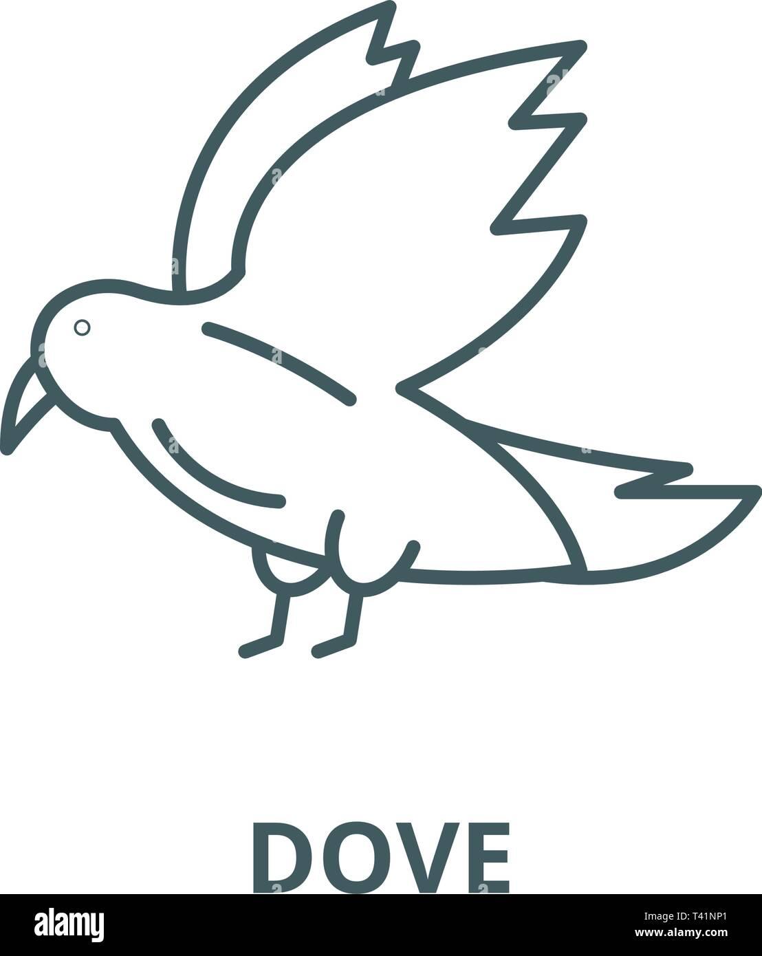 Dove line icon, vector  Dove outline sign, concept symbol