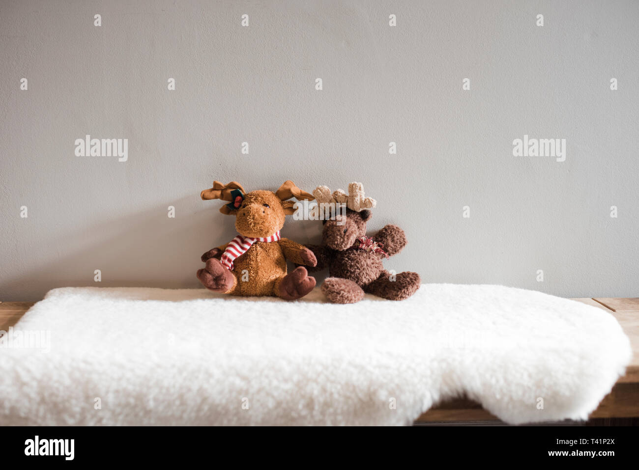 Two moose children's soft toys sitting on a white rug Stock Photo
