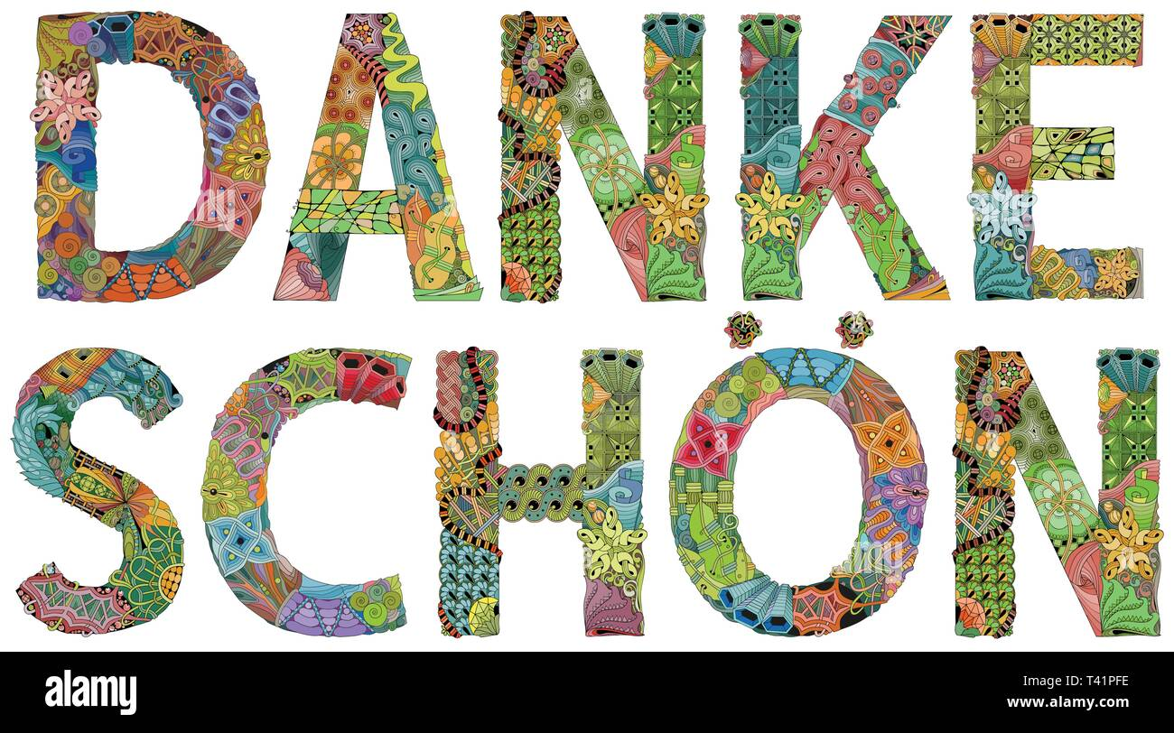 Word DANKE SCHON. Thank you in German. Vector decorative zentangle object Stock Vector