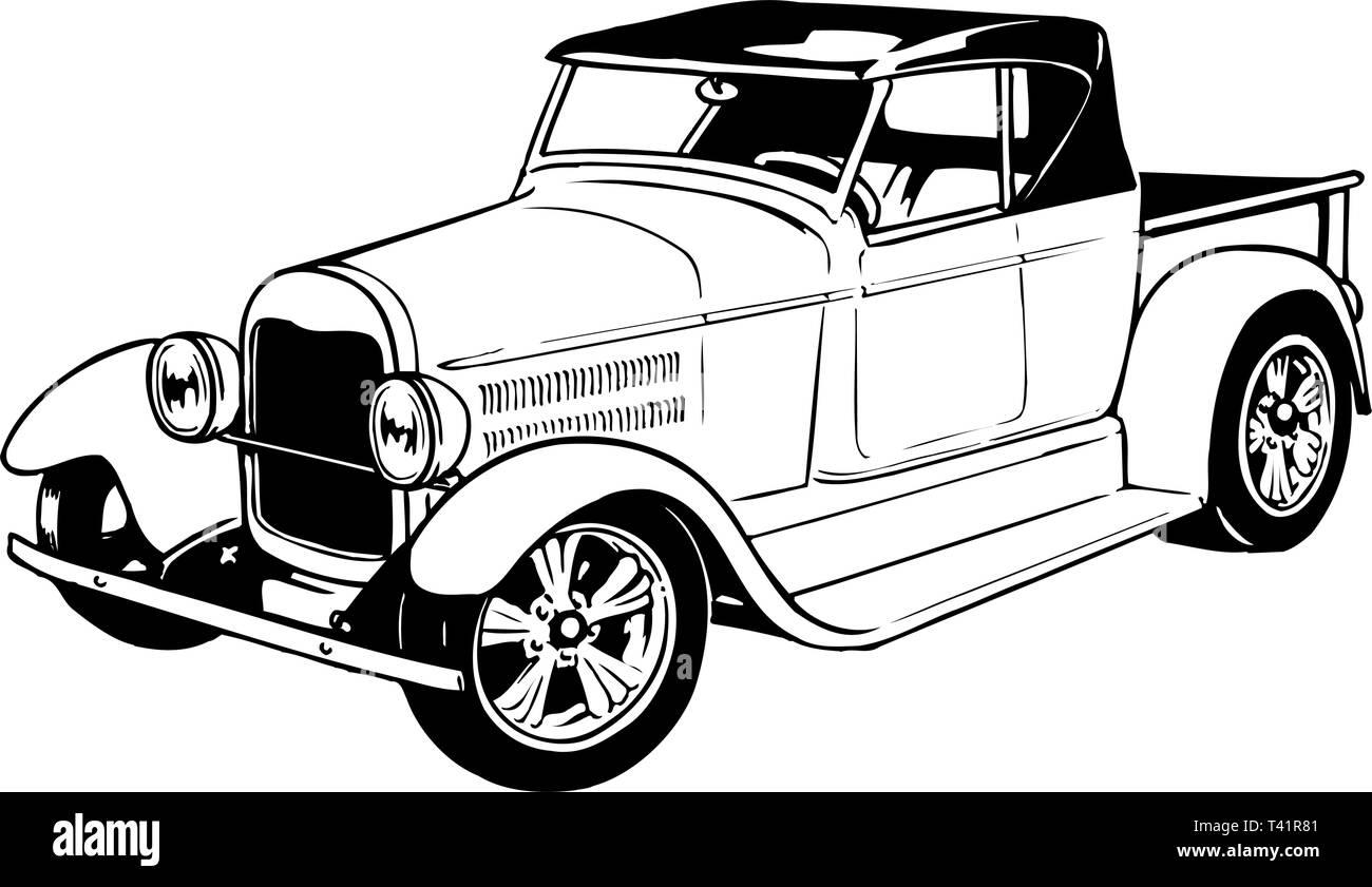 1930s Pickup Vector Illustration - Stock Vector