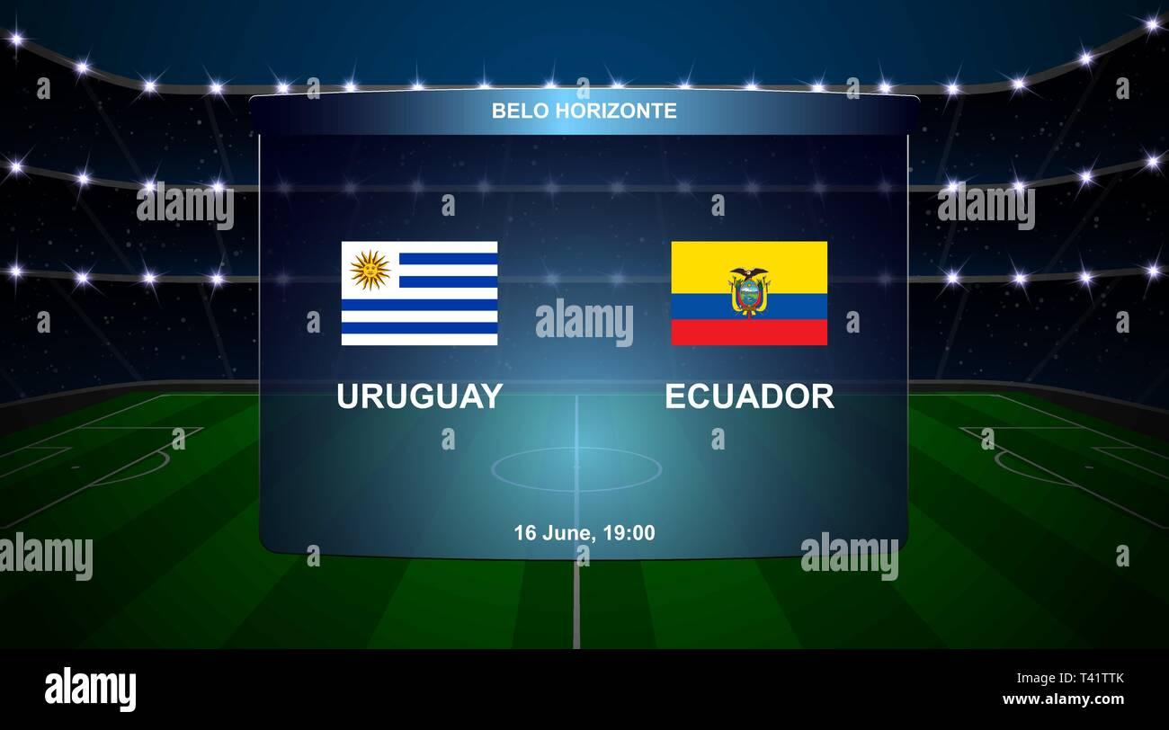 21e9c82aa7c Uruguay vs Ecuador football scoreboard broadcast graphic soccer template -  Stock Image