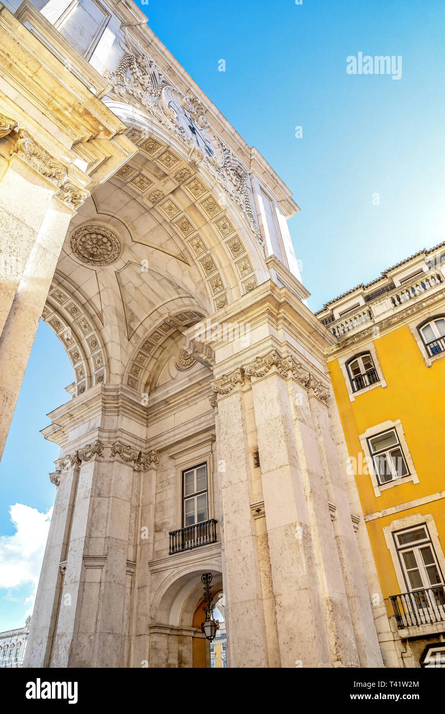 Rua Augusta arch view in Lisbon, Portugal - Stock Image