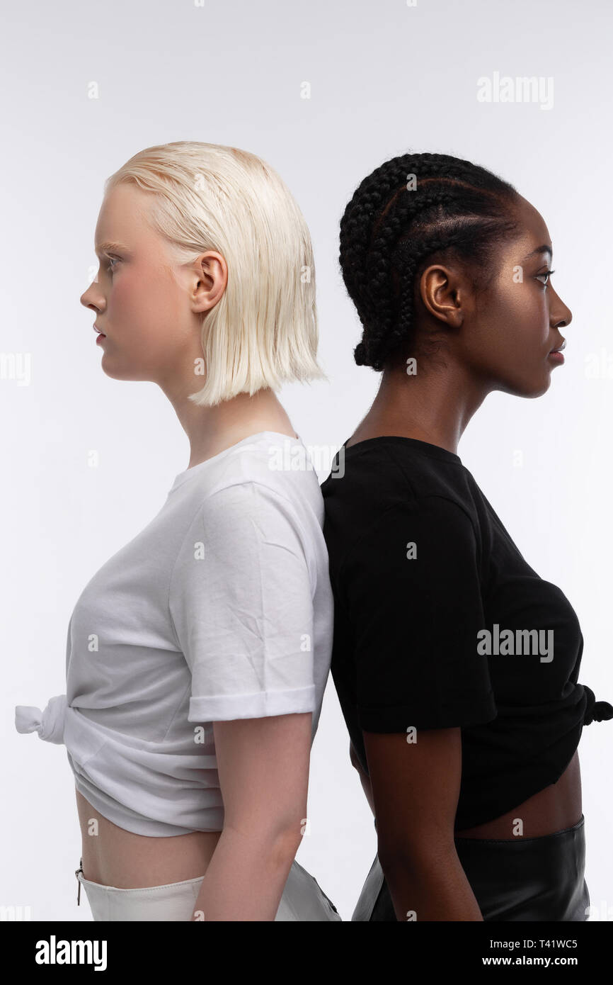 For Diversity Article Skinny Models With White And Dark Skin Posing Together For Diversity And Equality Article Stock Photo Alamy